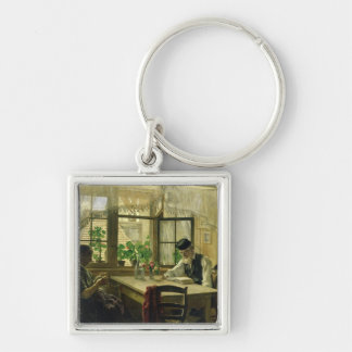 A Peaceful Sunday, 1876 Silver-Colored Square Key Ring