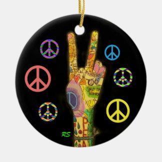 A Peaceful Theme - Peace Sign Round Ceramic Decoration