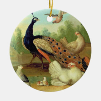 A Peacock, Doves, Chickens and a Jay in a Park Christmas Ornament