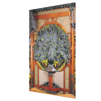A peacock from the central panel of a mural canvas print
