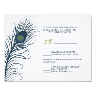 A Peacock Wedding Response Card 11 Cm X 14 Cm Invitation Card