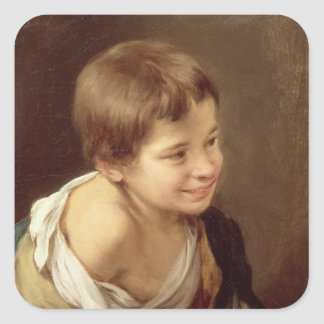 A Peasant Boy Leaning on a Sill, 1670-80 Square Sticker