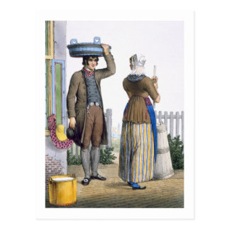 A Peasant Couple of Parmerend, North Holland, illu Postcard