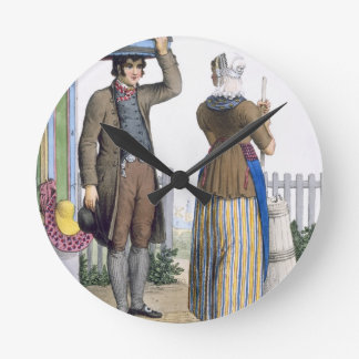 A Peasant Couple of Parmerend, North Holland, illu Wall Clock