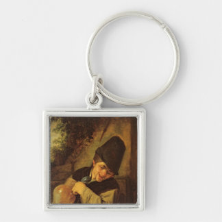 A Peasant Holding a Jug and a Pipe, c.1650-55 Silver-Colored Square Key Ring