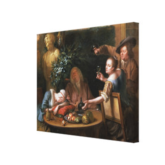 A peasant pours a drink for a woman while her husb canvas print
