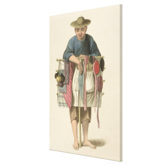 A Pedlar, plate 17 from 'The Costume of China', en Canvas Print