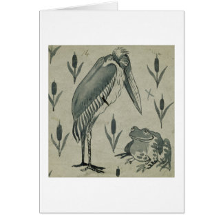 A Pelican and Frog in Conversation (w/c on paper) Card