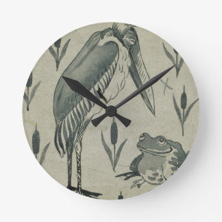 A Pelican and Frog in Conversation (w/c on paper) Round Clock