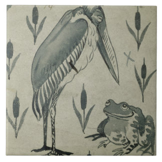 A Pelican and Frog in Conversation (w/c on paper) Tile