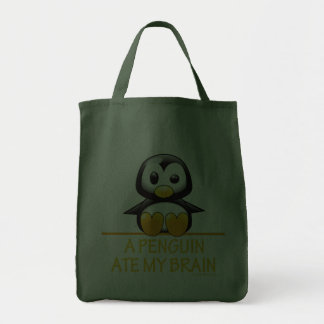 A Penguin Ate My Brain Grocery Tote Bag
