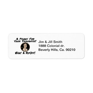 A Penny For Your Thoughts Return Address Label