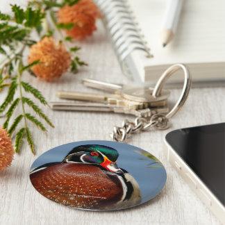 A Pensive Wood Duck Drake Basic Round Button Key Ring