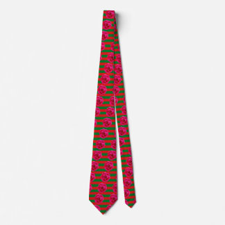 A PERFECT ROSE (floral Christmas stripes) ~ Tie