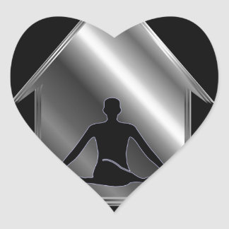 A person meditating or performing yoga heart sticker