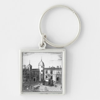 A Perspective View of the Parliament House Silver-Colored Square Key Ring