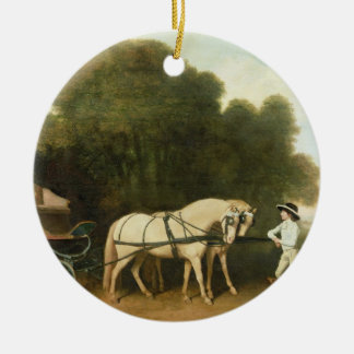 A Phaeton with a Pair of Cream Ponies in the Charg Round Ceramic Decoration