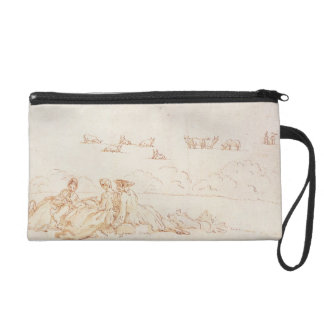 A Picnic: Two Ladies and a Gentleman (brown wash w Wristlet Clutch