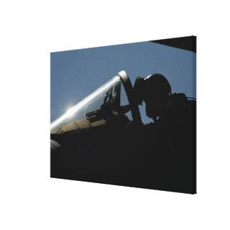 A pilot prepares for take-off canvas print