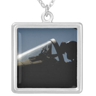 A pilot prepares for take-off silver plated necklace
