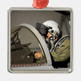 A pilot prepares his F-15A Eagle Silver-Colored Square Decoration