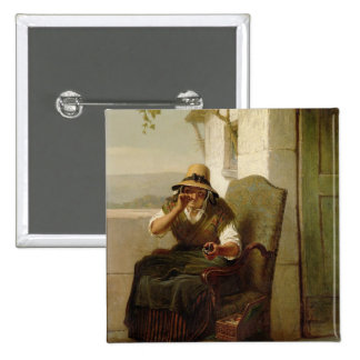 A Pinch of Snuff (oil on canvas) 15 Cm Square Badge