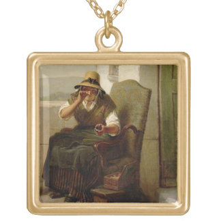 A Pinch of Snuff (oil on canvas) Square Pendant Necklace