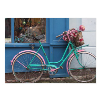 A pink bicycle with wicker basket and flowers 13 cm x 18 cm invitation card