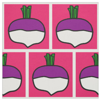 A pink brick wall of turnips fabric