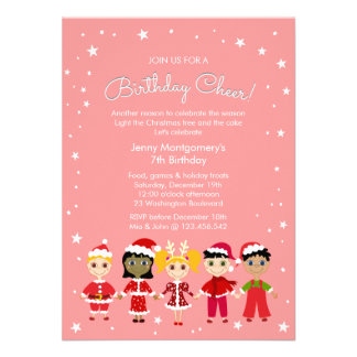A Pink Christmas Birthday Party Custom Invitations