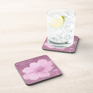 A Pink Cosmos Flower on a Pink Background Coaster