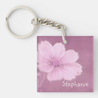 A Pink Cosmos Flower on a Pink Background Key Ring