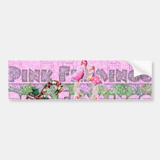 a PINK FLAMINGO Christmas by ~bluedecker97 Car Bumper Sticker