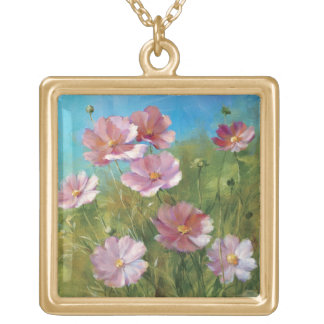 A Pink Floral Garden Gold Plated Necklace