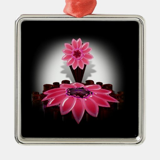 A Pink Flower on Black Background Christmas Ornaments