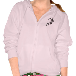 A pink hoody with purple flowers