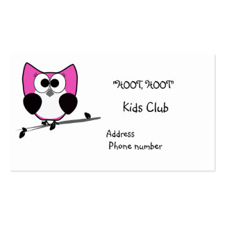 A pink owl sweet business card