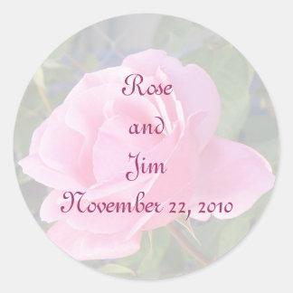 A Pink Rose, Envelope Seal Round Sticker