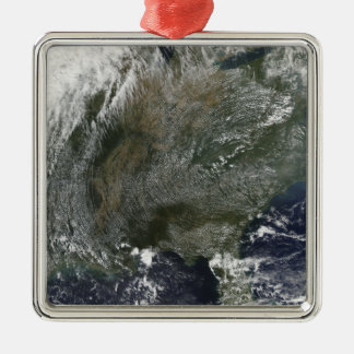 A pinwheel-like pattern of high pressure clouds christmas ornament