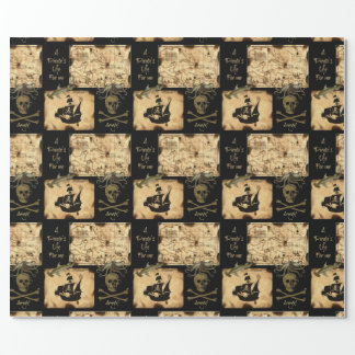 A Pirate's Life For Me Caribbean Treasure Map Wrapping Paper