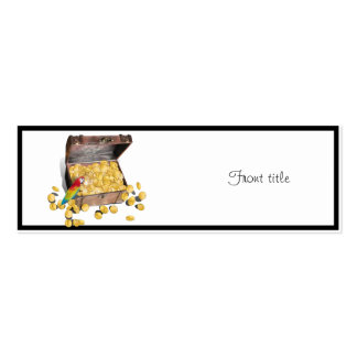 A Pirates Treasure Chest (Add Background Color) Double-Sided Mini Business Cards (Pack Of 20)