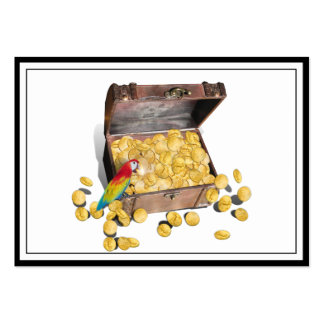 A Pirates Treasure Chest (Add Background Color) Large Business Cards (Pack Of 100)