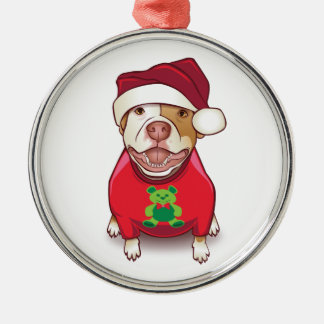 A Pit Bull in a Bear Tee Christmas Ornament