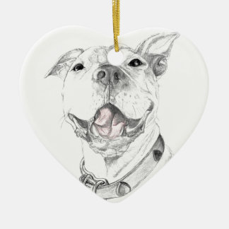 A Pit Bull Smile Ceramic Heart Decoration