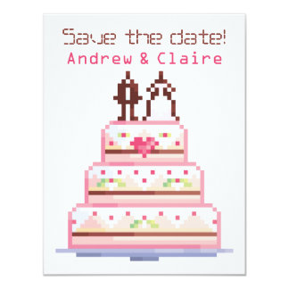 a pixel wedding ♥ 4.25x5.5 paper invitation card