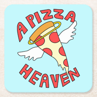 A Pizza Heaven Square Paper Coaster