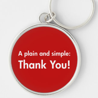 A Plain and Simple: Thank You! Silver-Colored Round Key Ring