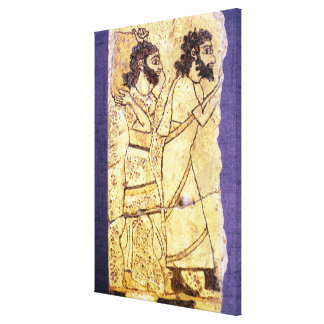 A plaque depicting two men walking canvas print