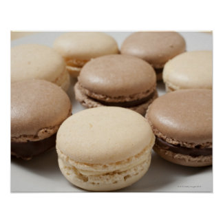 A plate of Chocolate and Vanilla Macarons, the Poster