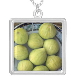 A plate of fresh Mediterranean Figs Silver Plated Necklace